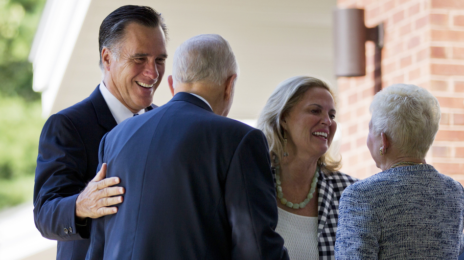 Republican presidential candidate Mitt Romney and his wife, Ann, at the Church of Jesus Christ of Latter-day Saints in Wolfeboro, N.H. The candidate regularly attends church, but he rarely invokes religion on the campaign trail. (AP)