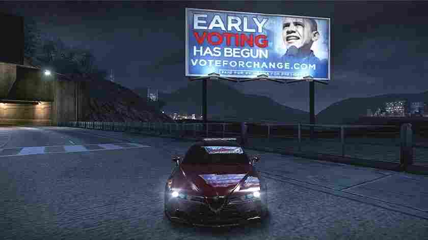 An advertisement for then-presidential candidate Barack Obama appeared in the Xbox 360 Live version of the video game Need for Speed: Carbon in 2008. Again this year, Obama is advertising in video games.
