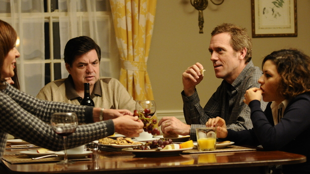 The Ostroffs (Allison Janney and Oliver Platt) and their good friends, the Walling family (Hugh Laurie and Alia Shawkat), are shaken when the Ostroffs' daughter comes home for the holidays. (ATO Pictures)