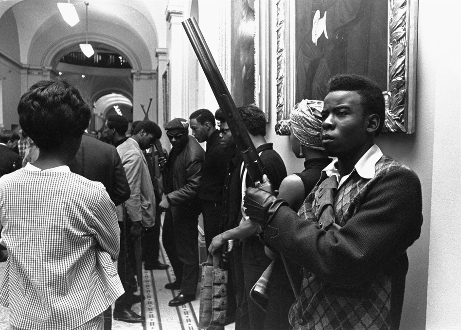 On May 2, 1967, Black Panthers amassed at the Capitol in Sacramento brandishing guns to protest a bill before an Assembly committee restricting the carrying of arms in public. Self-defense was a key part of the Panthers' agenda. This was an early action, a year after their founding. (AP)