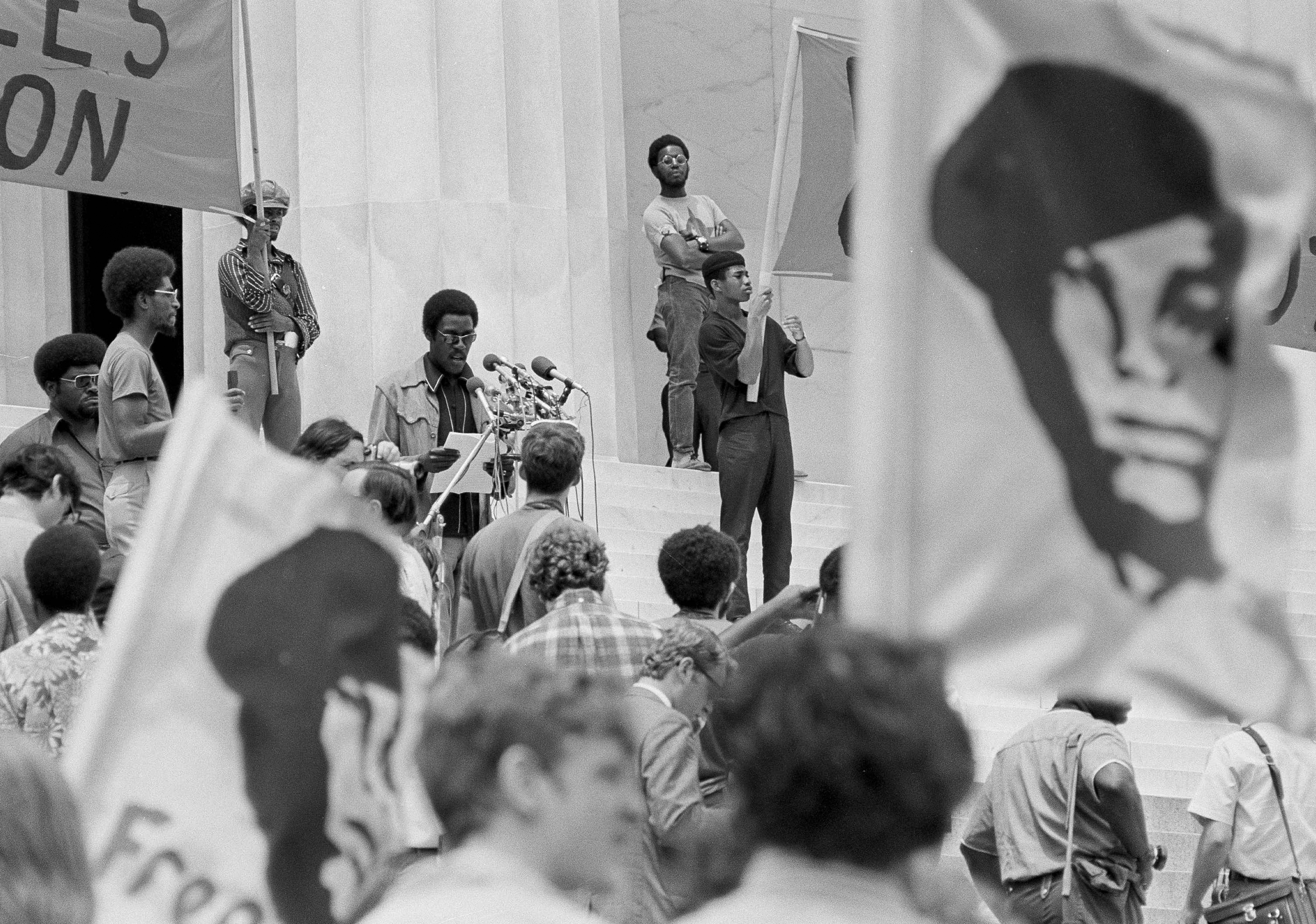 The Panthers were fundamentally a political party. Here, Panther Chief of Staff David Hilliard calls for a new U.S. Constitution from the steps of the Lincoln Memorial in Washington on June 19, 1970, to guarantee all Americans the rights of life, liberty and the pursuit of happiness -- rights they say blacks had been denied.
