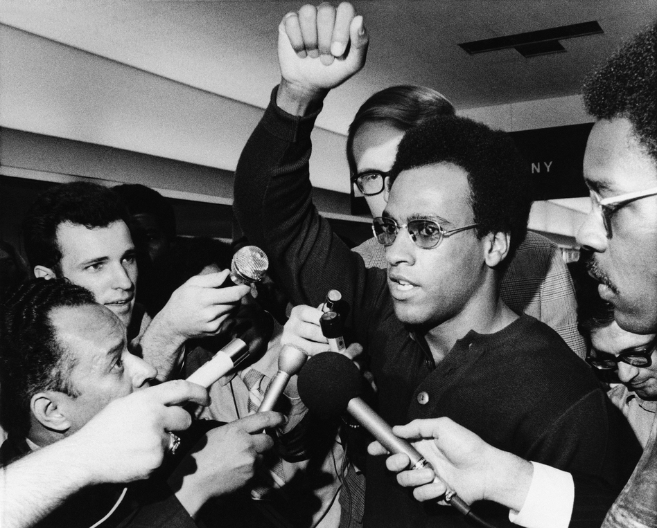Huey Newton co-founded the Black Panther Party for Self-Defense in 1966 in Oakland, Calif., with Bobby Seale. This 1970 photo shows Newton in Philadelphia'. (AP)