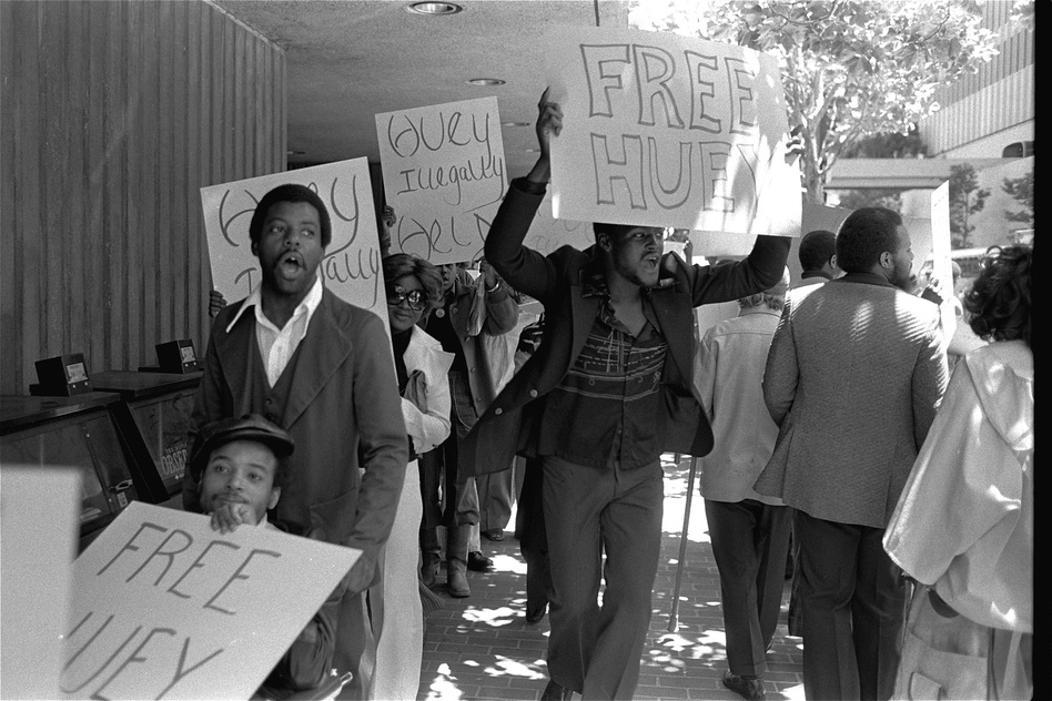 Black Panther members stage a protest outside the Canadian Consulate in San Francisco on June 27, 1977. The Canadian government detained Huey Newton as he returned from self-imposed exile in Cuba to stand trial for a 1964 murder. He was not convicted. (AP)