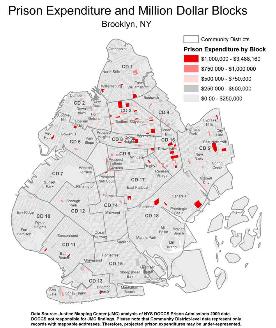This map shows the cost of incarcerating all residents sent to prison in 2009 from each block in Brooklyn. Dark red blocks represent areas where the state will spend more than $1 million to incarcerate people sent to prison that year.