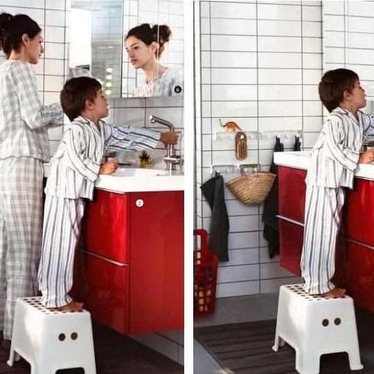 She's gone: One example of how women disappeared from IKEA's catalog. In the U.S. version, she's standing at a sink. In the Saudi version, she's missing.