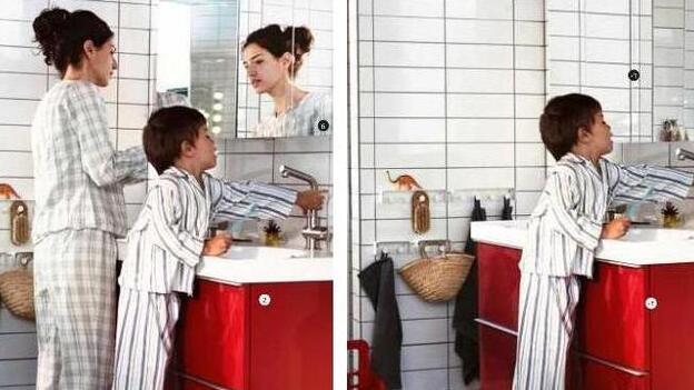 She's gone: One example of how women disappeared from IKEA's catalog. In the U.S. version, she's standing at a sink. In the Saudi version, she's missing. (IKEA)