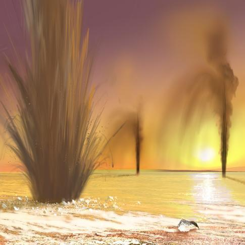 An artist's rendering of Martian geysers.