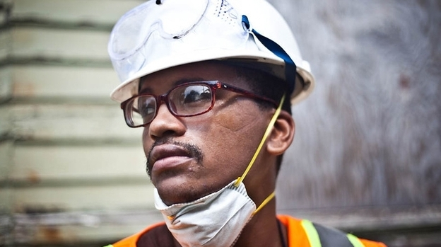 Bernard Goutier, 25, has served time in prison twice. He's now learning construction skills with Emerge Connecticut, which offers paid on-the-job training, literacy classes and support groups to ex-offenders. (Uma Ramiah for NPR)