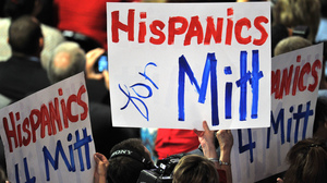 Delegates wave banners during Mitt Romney's acceptance speech at the Republican National Convention in August.