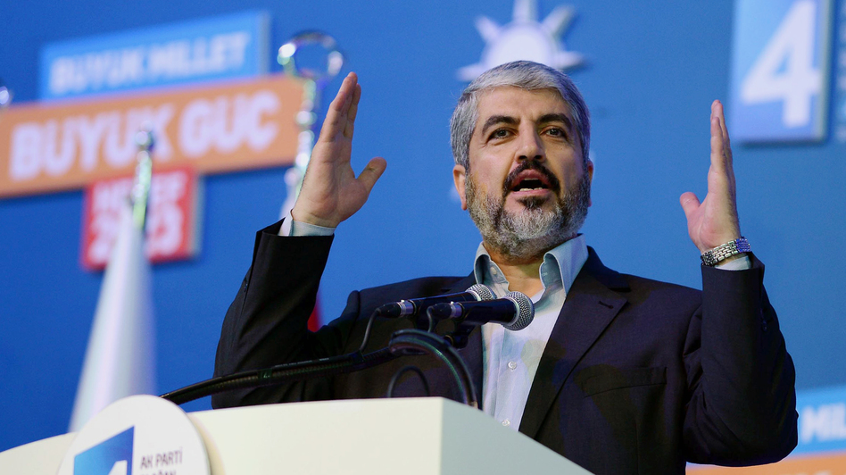 Palestinian Hamas leader Khaled Mashaal was a close ally of Syria and lived in the capital Damascus for years. But relations soured over the uprising in Syria, and Syria's state television denounced him in withering terms. Mashaal is shown speaking at a conference in Turkey on Sunday. (AP)