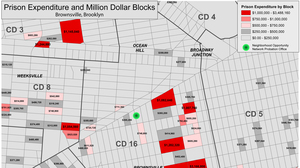 The cost of incarcerating residents from individual blocks in and around Brownsville. In response to the concentration of people on probation in Brownsville, the New York City Department of Probation used mapping to locate and launch the Neighborhood Opportunity Network, which connects probation clients with services, jobs and civic participation opportunities.
