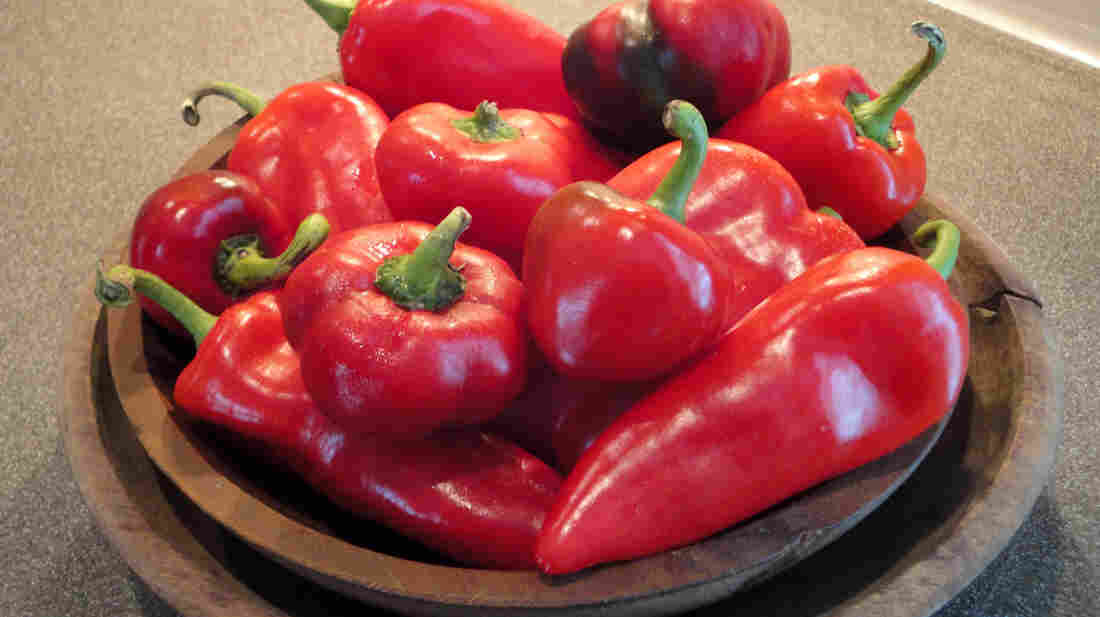 A bowl of sweet red peppers