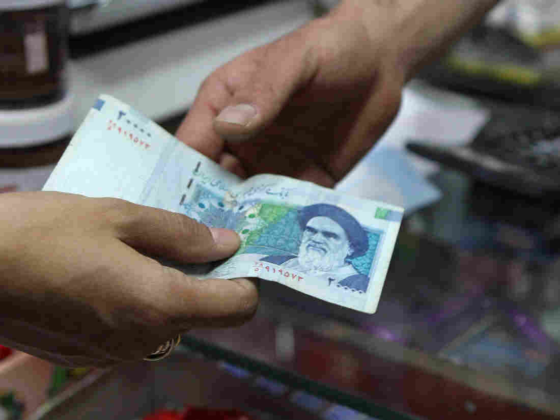 A 20,000 rial banknote, which today was worth less than 60 cents.
