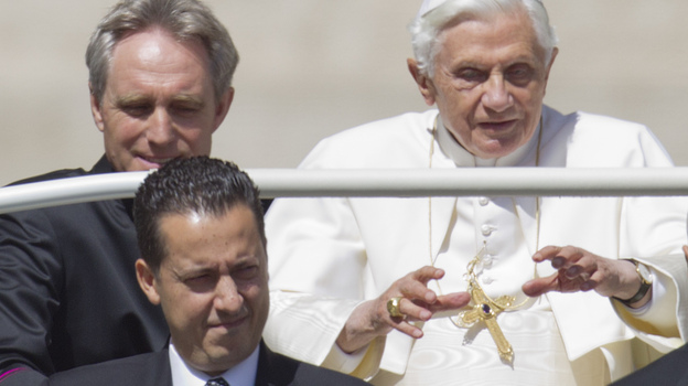 Pope Benedict XVI and his former butler, Paolo Gabriele (center), are shown at the Vatican in this file photo. The pope's private secretary, Georg Gaenswein, is on the left. (AP)