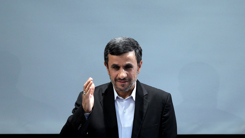 Iranian President Mahmoud Ahmadinejad during a news conference in Tehran on Tuesday. (AFP/Getty Images)