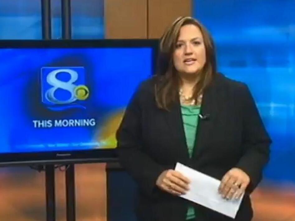 La Crosse, Wis., TV anchor Jennifer Livingston during her on-air response.