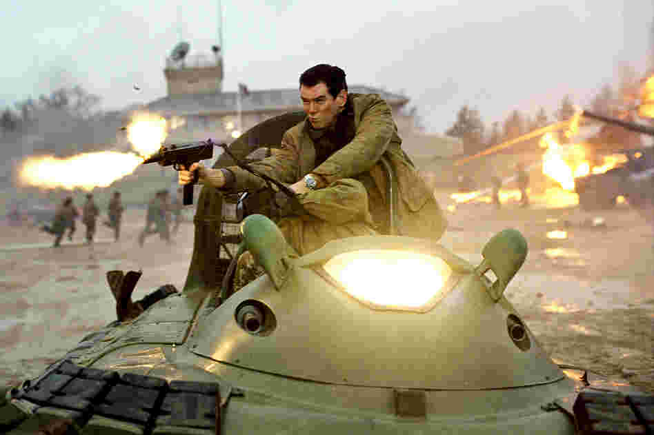 Pierce Brosnan in a high-speed hovercraft chase in Die Another Day — Brosnan's fourth and final Bond film.