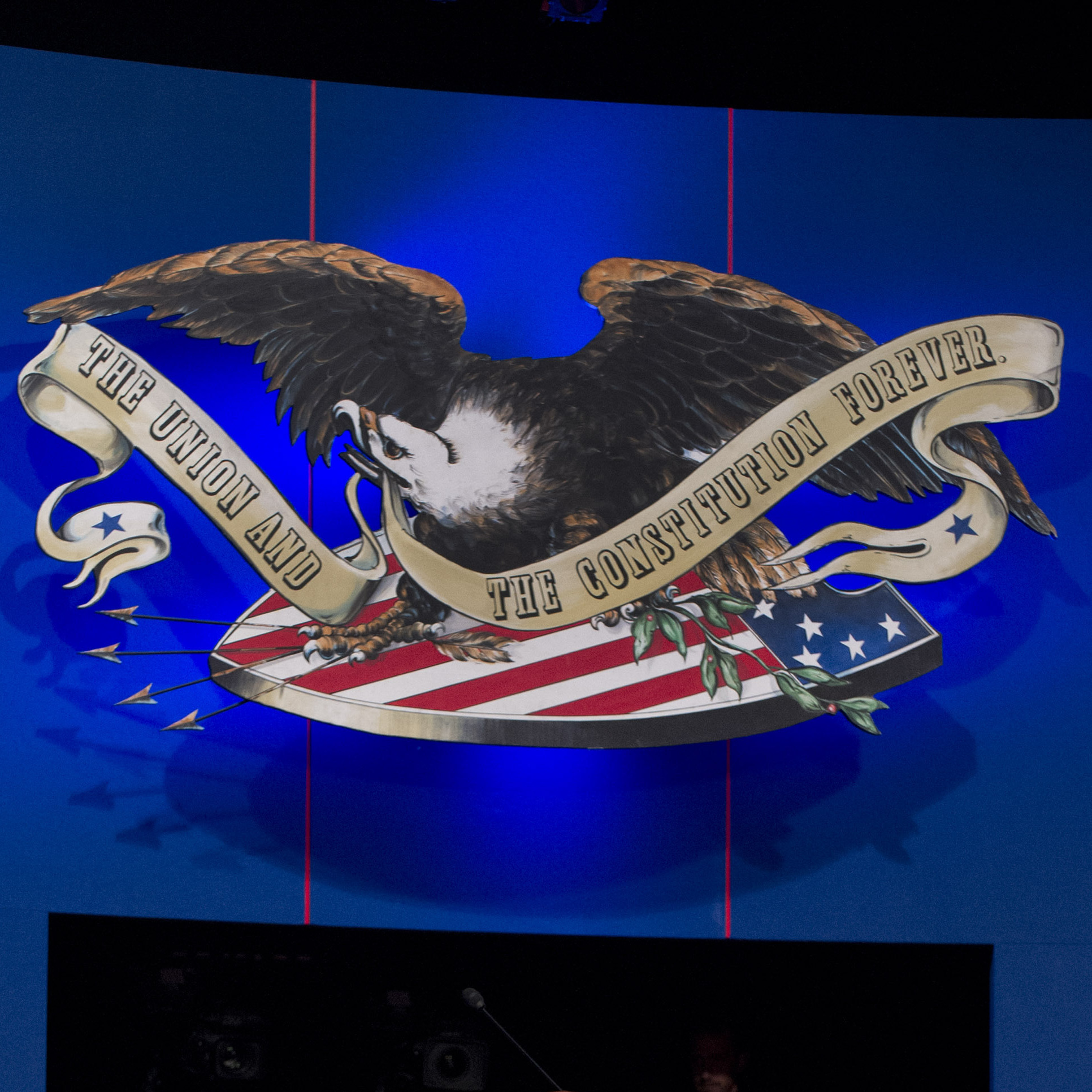 "Above and behind the candidates on stage tonight in Denver will be an eagle and the inscription ""The Union and the Constitution Forever."""