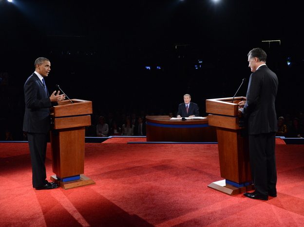 President Obama and GOP presidential nominee Mitt Romney face off during the presidential debate at the University of Denver on Wednesday as moderator Jim Lehrer looks on.