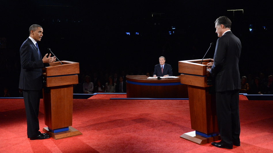 President Obama and GOP presidential nominee Mitt Romney face off during the presidential debate at the University of Denver on Wednesday as moderator Jim Lehrer looks on. (Getty Images)