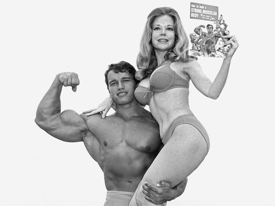 Joe Weider's wife, Betty, and Schwarzenegger often posed for ads in his magazines. The pitch was simple: If you get muscles, you can go to the beach and pick up girls. ( )