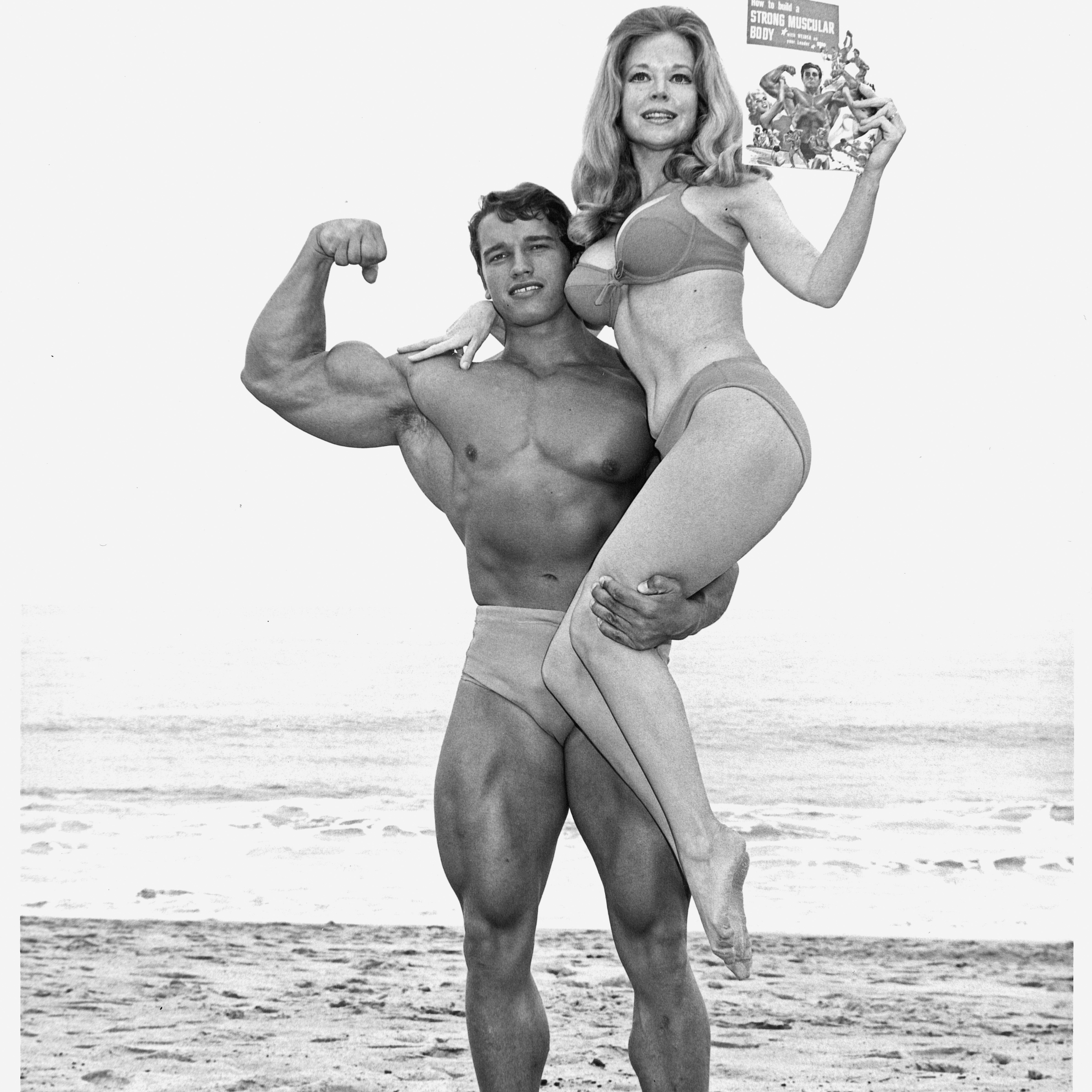Joe Weider's wife, Betty, and Schwarzenegger often posed for ads in his magazines. The pitch was simple: If you get muscles, you can go to the beach and pick up girls.