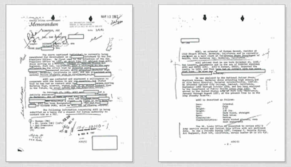 Click on the documents above to read excerpts from Richard Aoki's FBI file.