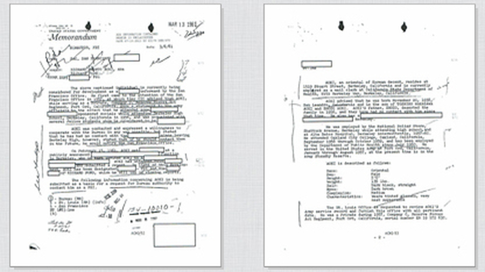 Click on the documents above to read excerpts from Richard Aoki's FBI file. (Courtesy of Seth Rosenfeld)