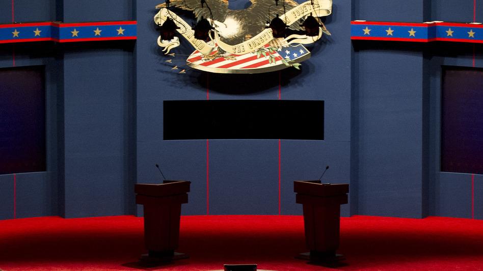 The stage is set: Tonight's debate is at the University of Denver. (UPI /Landov)