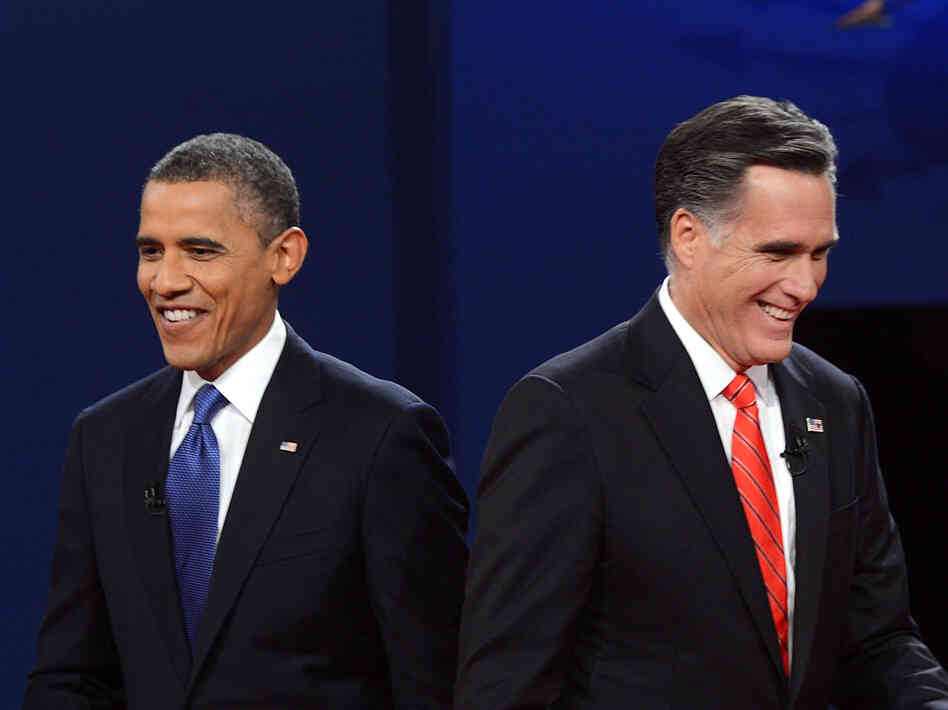 President Barack Obama and Republican presidential candidate Mitt Romney at the first 2012 presidential debate in Denver, CO.