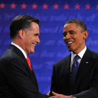 US President Barack Obama and Republican presidential candidate Mitt Romney at the first debate in Denver, Colorado.