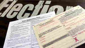 A voter registration form and absentee ballot application at a Franklin County polling place in Columbus, Ohio, on Tuesday. The deadline to register to vote in Ohio is Oct. 9.