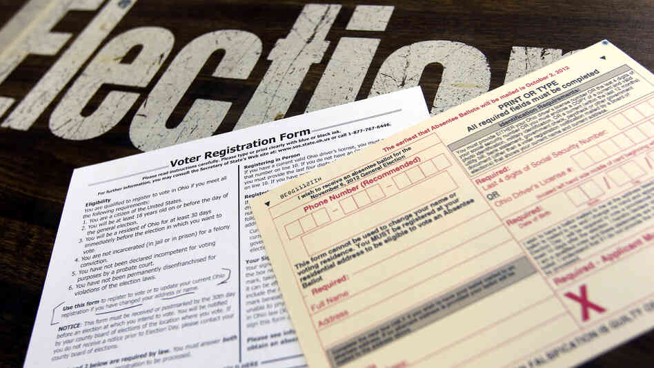 A voter registration form and absentee ballot applic