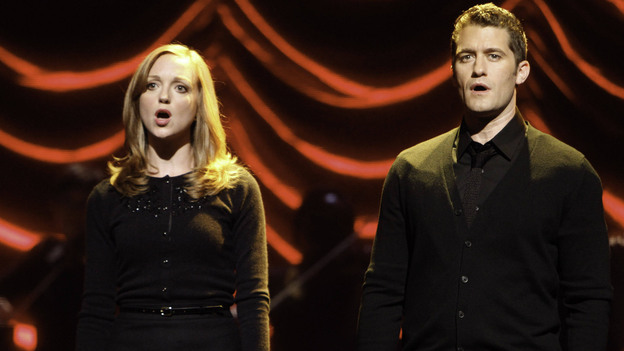 Emma (Jayma Mays) and Will (Matthew Morrison) are only one of the challenged couples in tonight's Glee. (Fox)