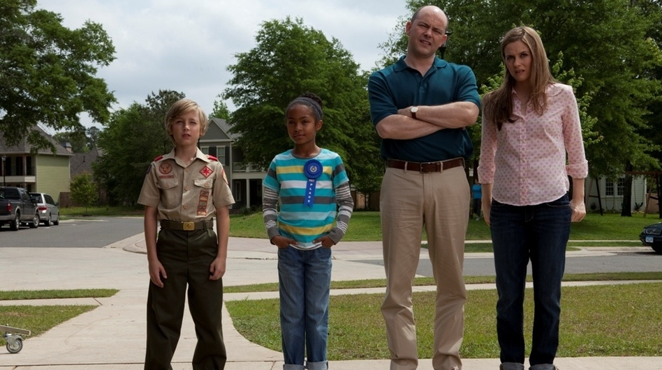 A butter sculpting prodigy (Yara Shahidi, second from left) has a chance to end the Picklers' reign with the help of her friend (Brett Hill) and her foster parents (Rob Corddry and Alicia Silverstone). (Radius-TWC)