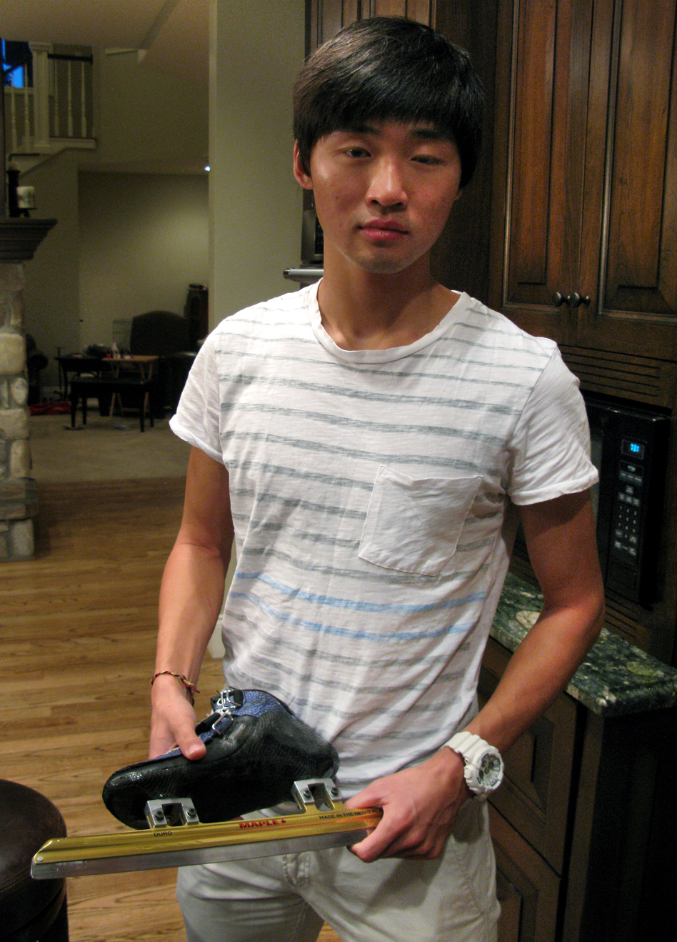 Olympic speedskater Simon Cho holds a short track skate that is similar to the one he sabotaged at an international meet last year. Cho first openly described what he did and why in an interview with NPR this week at his attorney's home outside Salt Lake City. (NPR)
