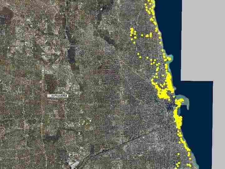 Scientists tracked one coyote in Chicago during 2010 and mapped where it went. Many of the locations shown here are along the city's famous Lake Shore Drive.