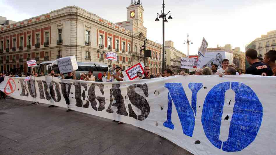 Spaniards protest the construction of the EuroVegas gambling complex at Puerta del Sol in Madrid last month.