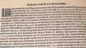 A page from Pacioli's math encyclopedia, Summa de Arithmetica, Geometria, Proportioni et Proportionalita.