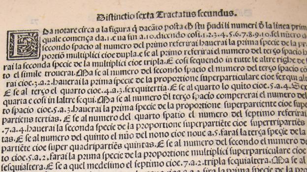 A page from Pacioli's math encyclopedia, Summa de Arithmetica, Geometria, Proportioni et Proportionalita. (via Jane Gleeson-White)