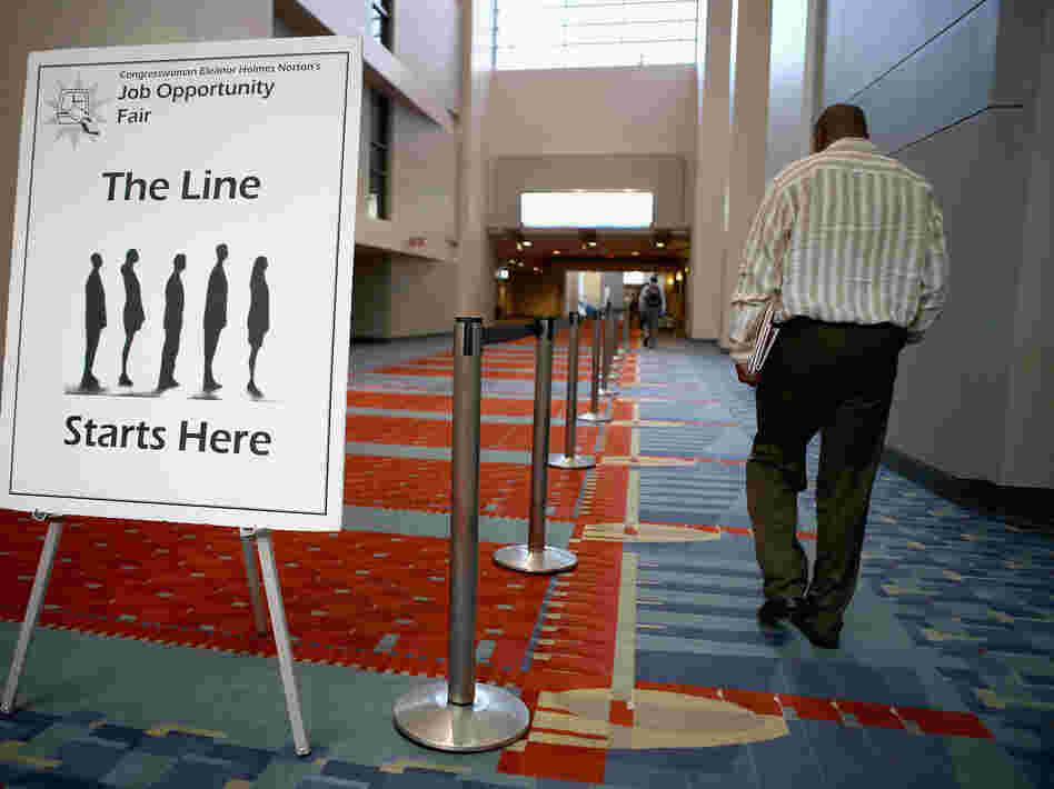 The welcome sign at a job fair earlier this year in Washington, D.C.