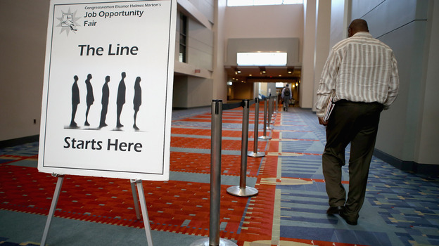 The welcome sign at a job fair earlier this year in Washington, D.C. (Getty Images)