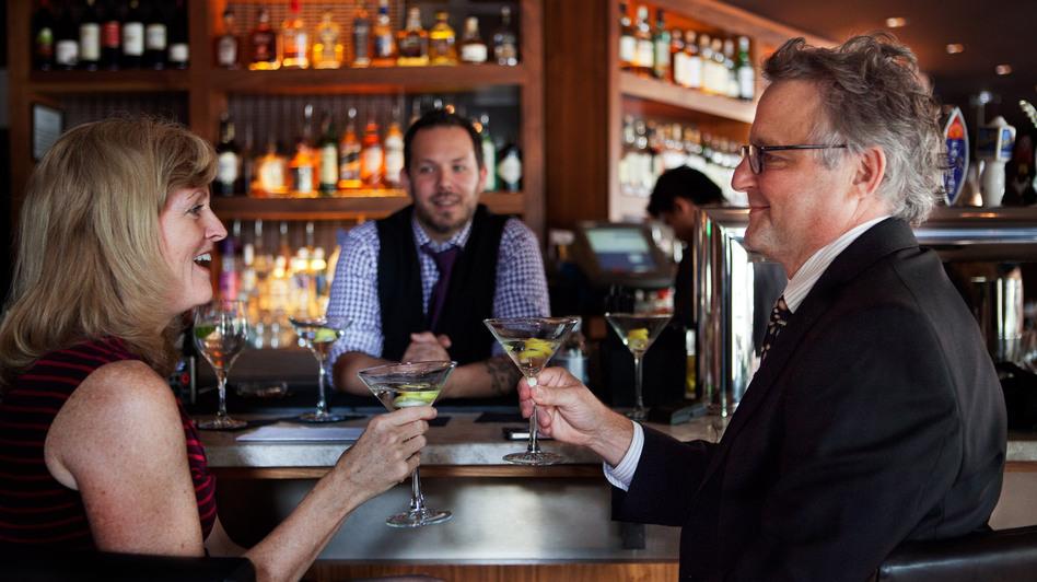 "NPR's Allison Aubrey and Joe Palca ""investigate"" the difference between shaken and stirred martinis. (NPR)"