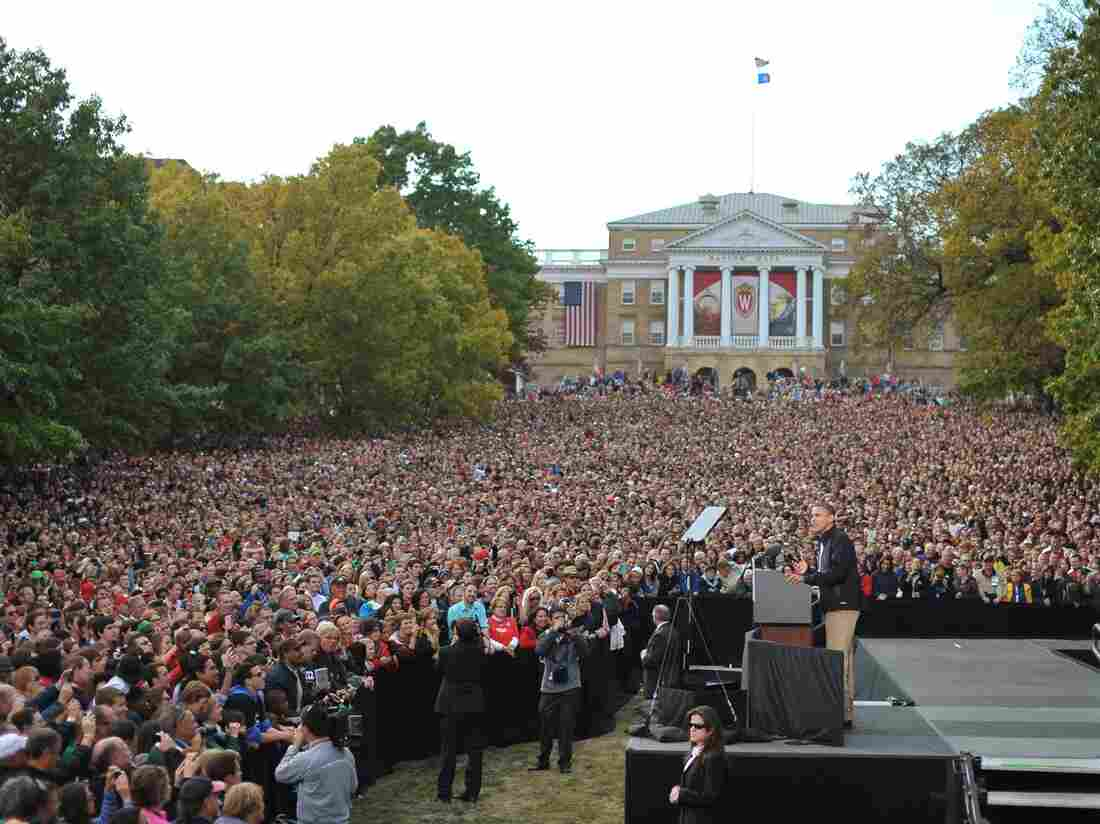 President Obama drew a crowd in Madison, Wis., the day after his widely panned first debate against GOP challenger Mitt Romney.