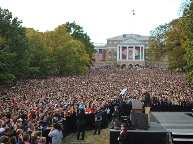 President Obama drew a crowd in Madison, Wis., the day after his widely panned first debate against GOP challenger Mitt Romney. (AFP/Getty Images)