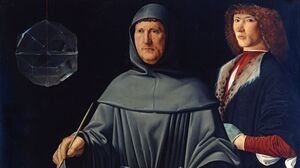 Luca Pacioli is the one on the left. (Nobody knows who the guy on the right is.)
