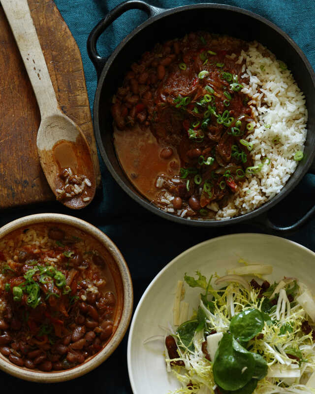 Ensalada de Palmito (Hearts of Palm Salad)Ropa Vieja con Arroz (Cuban-Style Braised & Shredded Beef with Rice)Frijoles Colorados (Cuban Red Beans)