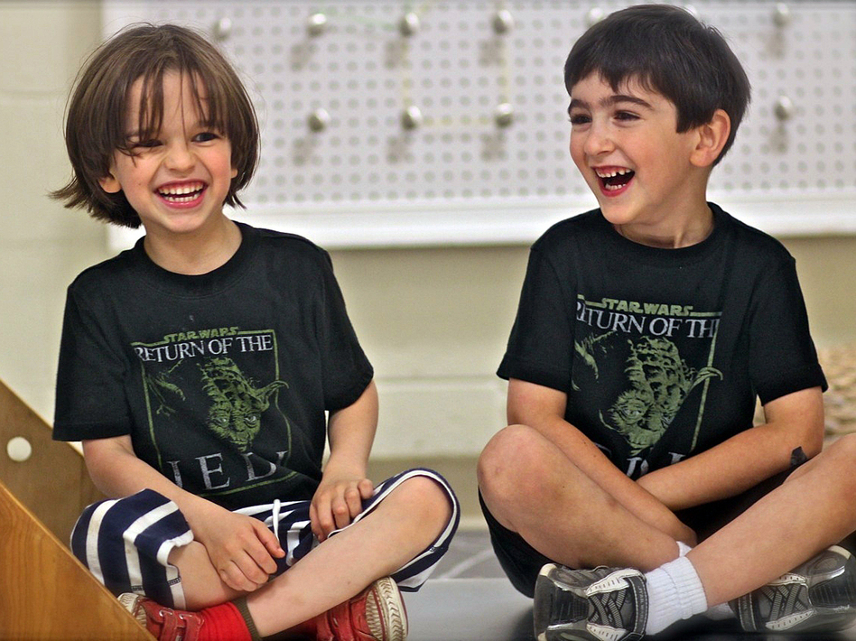 "Ben Blier (left) and his friend Jesse Bleckner hang out in their Yoda T-shirts. On his first day of kindergarten, Ben wore a Yoda T-shirt with ""Go to Kindergarten I Must"" printed on the front and ""Learn Things I Will"" on the back."