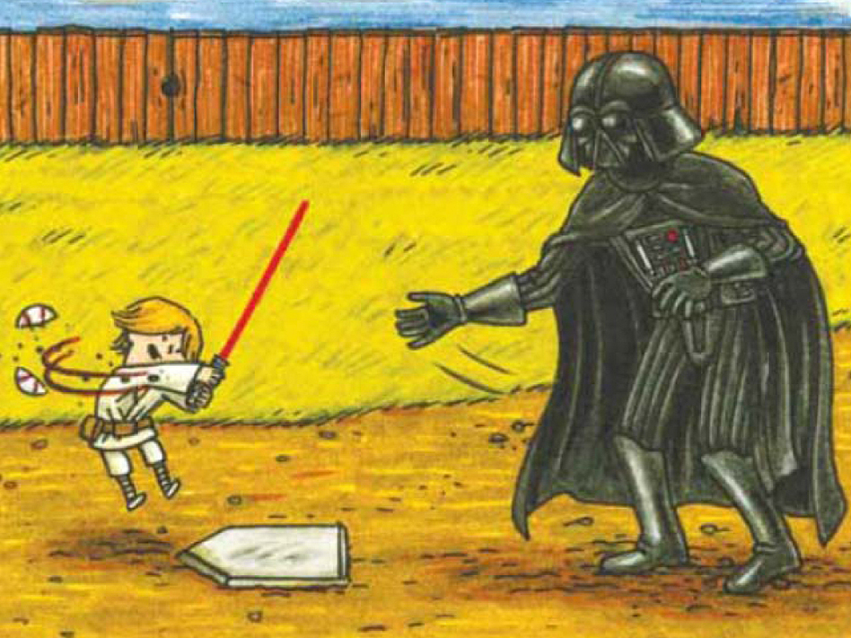"""I don't know why I didn't expect this, but kids really like the book, maybe even more than the adult audience,"" says Jeffrey Brown, author of Darth Vader and Son, a best-selling panel book about Vader's frustrations raising a 4-year-old Luke Skywalker. ""A lot of people have said their kids want it as their bedtime book just again and again and again."" (Courtesy of Chronicle Books)"