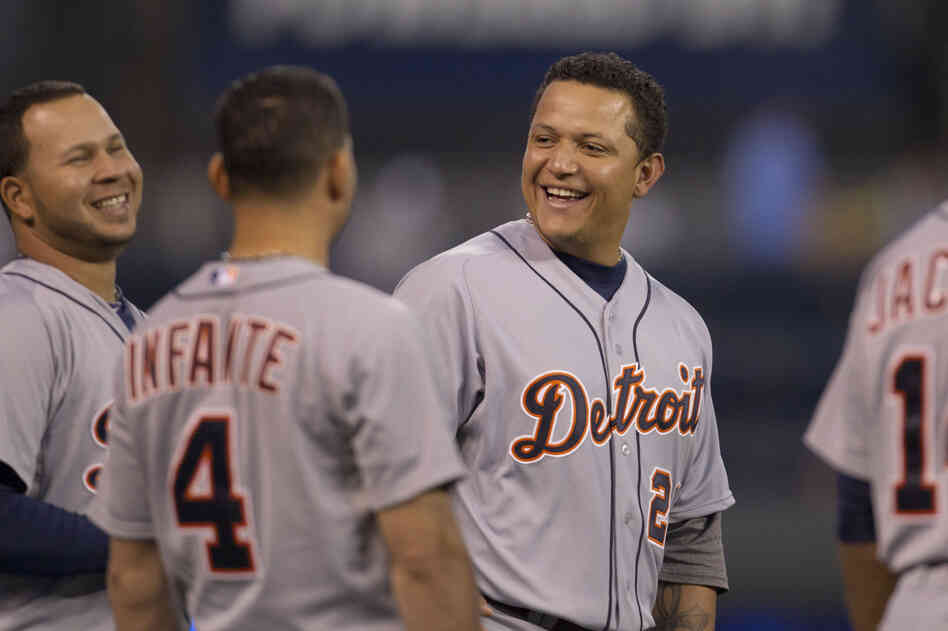Detroit Tigers' Miguel Cabrera before a baseball game against the Kansas City Royals at Kauffman Stadium in Kansas City, Mo.